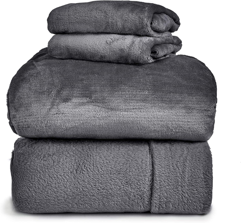 Spyder Insulated Warm Fleece Flannel Plush Sheet Set Pillow Case Flat & Fitted Sheet - Full, Dark Gray