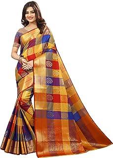 Silk Zone Women's Silk Kanjivaram Style Saree With Blouse( MB0004,Multicolor,Free Size )