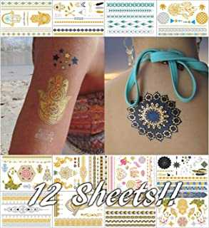 Metallic Temporary Tattoos for Women Teens Girls - 12 Sheets Gold Silver Temporary Tattoos Glitter Shimmer Designs Jewelry Tattoos - 150+ Color Flash Fake Waterproof Tattoo Stickers