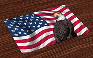 Ambesonne Eagle Place Mats Set of 4, American Flag with a Bald Eagle USA Theme Image Print Old Glory Background and Bird, Washable Fabric Placemats for Dining Table, Standard Size, Red Brown