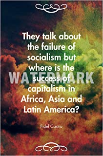 Introspective Chameleon Fidel Castro Quote They Talk About The Failure of Socialism. Art Print Photo Poster Unique Gift - Size: 12 x 8 Inches