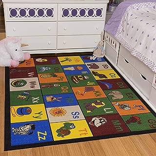 Ottomanson Jenny Collection Children's Multi Color Educational Alphabet (Non-Slip) Kids Classroom Area Rugs, 8'2