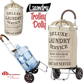 dbest products Laundry Trolley Dolly, Beige Laundry Bag Hamper Basket cart with wheels sorter
