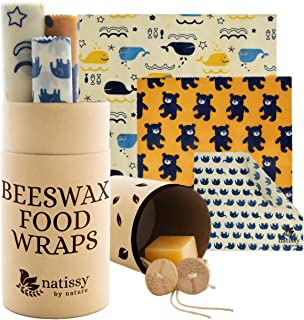 Reusable Beeswax Food Wrap, Set of 6 Organic Bees Wax Wraps for Bread, Cheese, Sandwiches; Eco-Friendly Reusable Beeswax W...