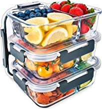 Igluu Meal Prep Glass 3 Compartment Container with Airtight SnapLock Lids - Portion Control Food Storage - BPA Free - Micr...