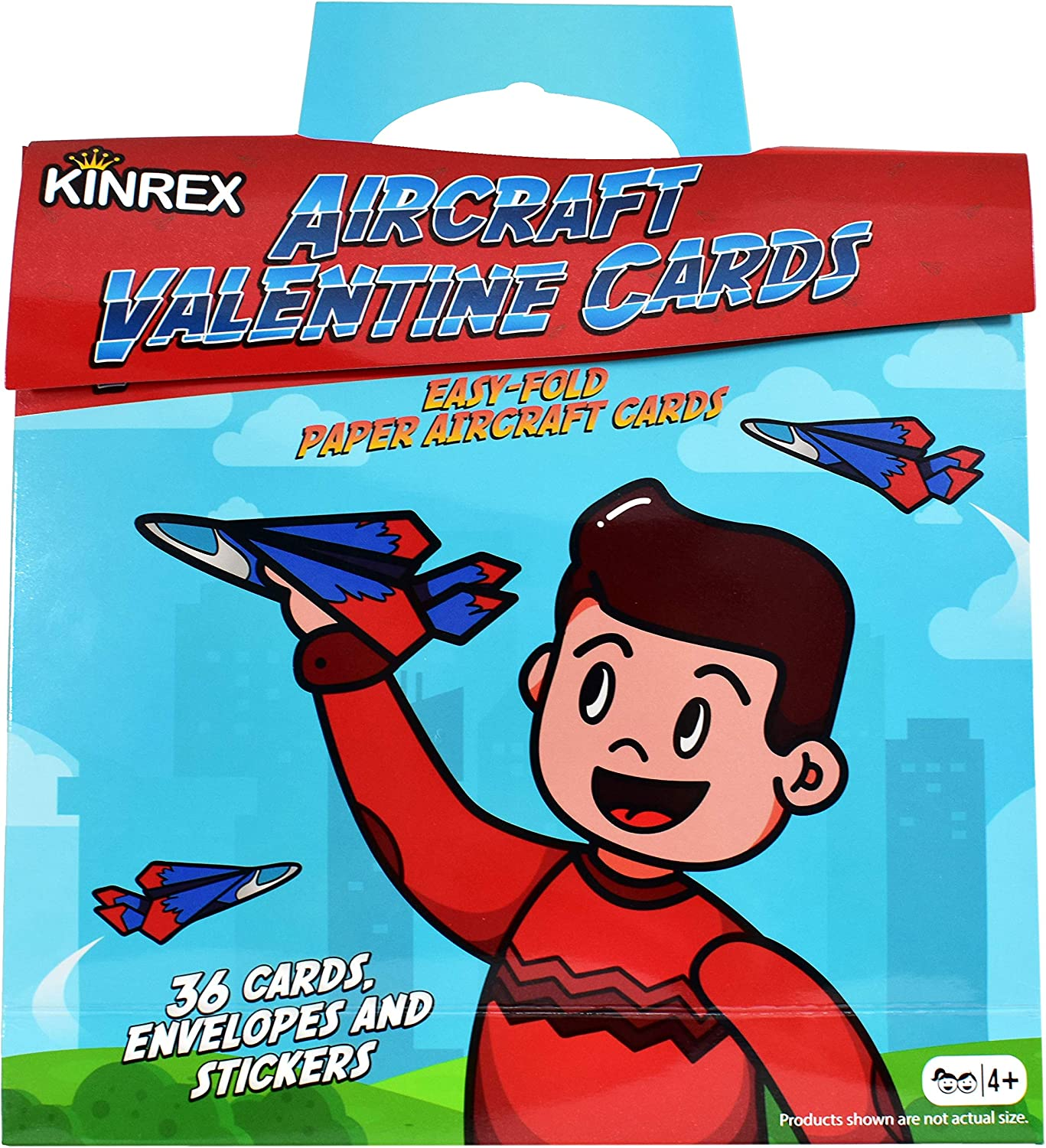 KINREX Valentines Gifts Cards for Kids  Valentine's Day Flying Paper Airplanes  Happy Valentine's Day Gifts for Kids  Valentines DIY Craft Card Kit  Valentine's School Party Favors  36 Count