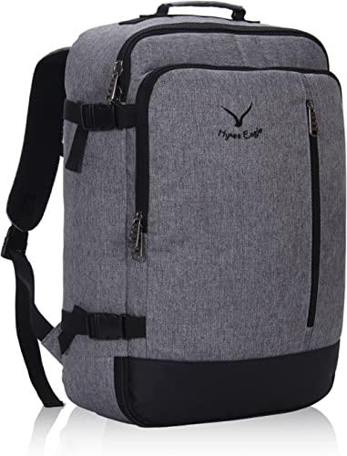 Hynes Eagle Men Backpack 38L Flight Approved Weekender Carry on Backpack Travel Backpack for Women BlackGrey