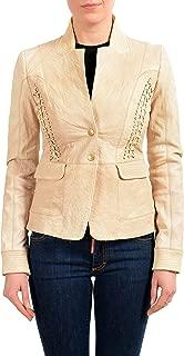 Just Cavalli 100% Leather Brown Women's Full Zip Basic Jacket US S IT 40