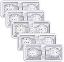 5 Pack Leisure LED RV LED Ceiling Double Dome Light Fixture with ON/OFF Switch Interior Lighting for Car/RV/Trailer/Camper/Boat DC 12V Natural White 4000-4500K 48X2835SMD (Natural White 4000-4500K, 5)