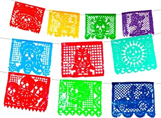 Plastic Day of the Dead Mexican Papel picado Banner. Dia de Muertos Decorations.