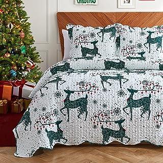 Hansleep Couvre-lit matelassé double taille 220 x 240 cm, lot de 3 couvre-lits de Noël légers en microfibre toutes saisons...
