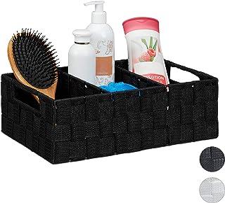 Relaxdays Corbeille de Rangement avec Compartiments, Stockage cosmétique, Salle de Bain, poignées, 10x32x21 cm, Noir, PP, ...