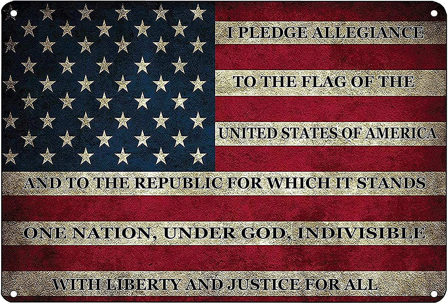 Cafini Retro Metal Sign Vintage I Pledge Allegiance to The Flag of The United States of America Sign for Plaque Poster Cafe Wall Decor Art Sign 8x12 INCH