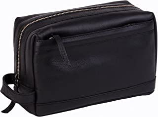 Dwellbee Premium Top Grain Leather Toiletry Bag and Dopp Kit with TSA Approved LokSak Waterproof Bag (Buffalo Leather, Black)
