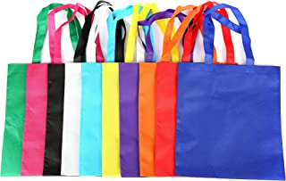 Fun Central 50 Pieces - 15.5 Inch Polyester Non-Woven Tote Bag - Colorful Party Gift Tote Bags in Bulk for Birthday and Christmas