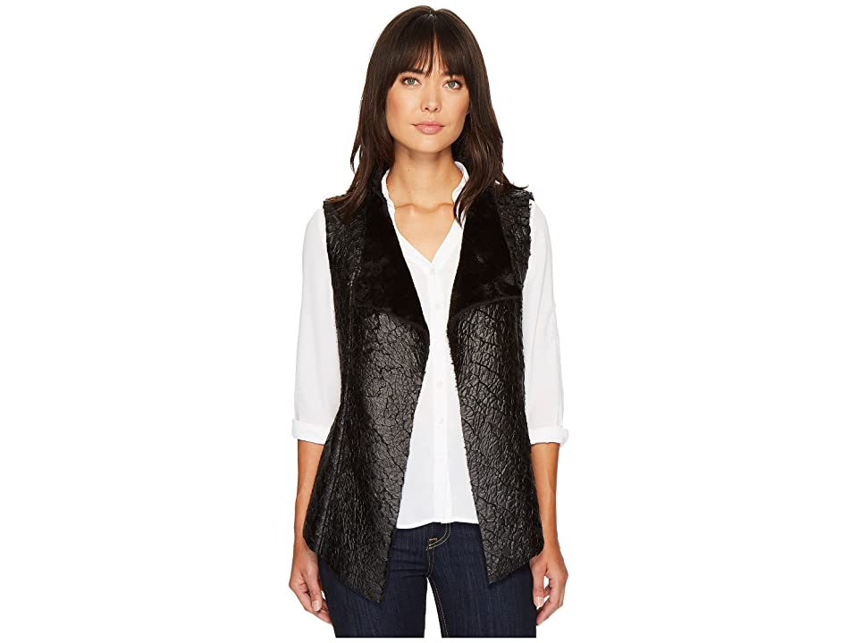 NYDJ Coated Faux Fur Vest (Black) Women