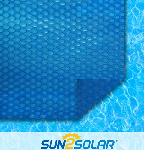 Sun2Solar Blue 18-Foot-by-33-Foot Oval Solar Cover | 1200 Series Style | Heating Blanket for In-Ground and Above-Ground Oval Swimming Pools | Use Sun to Heat Pool Water | Place Bubble-Side Facing Down