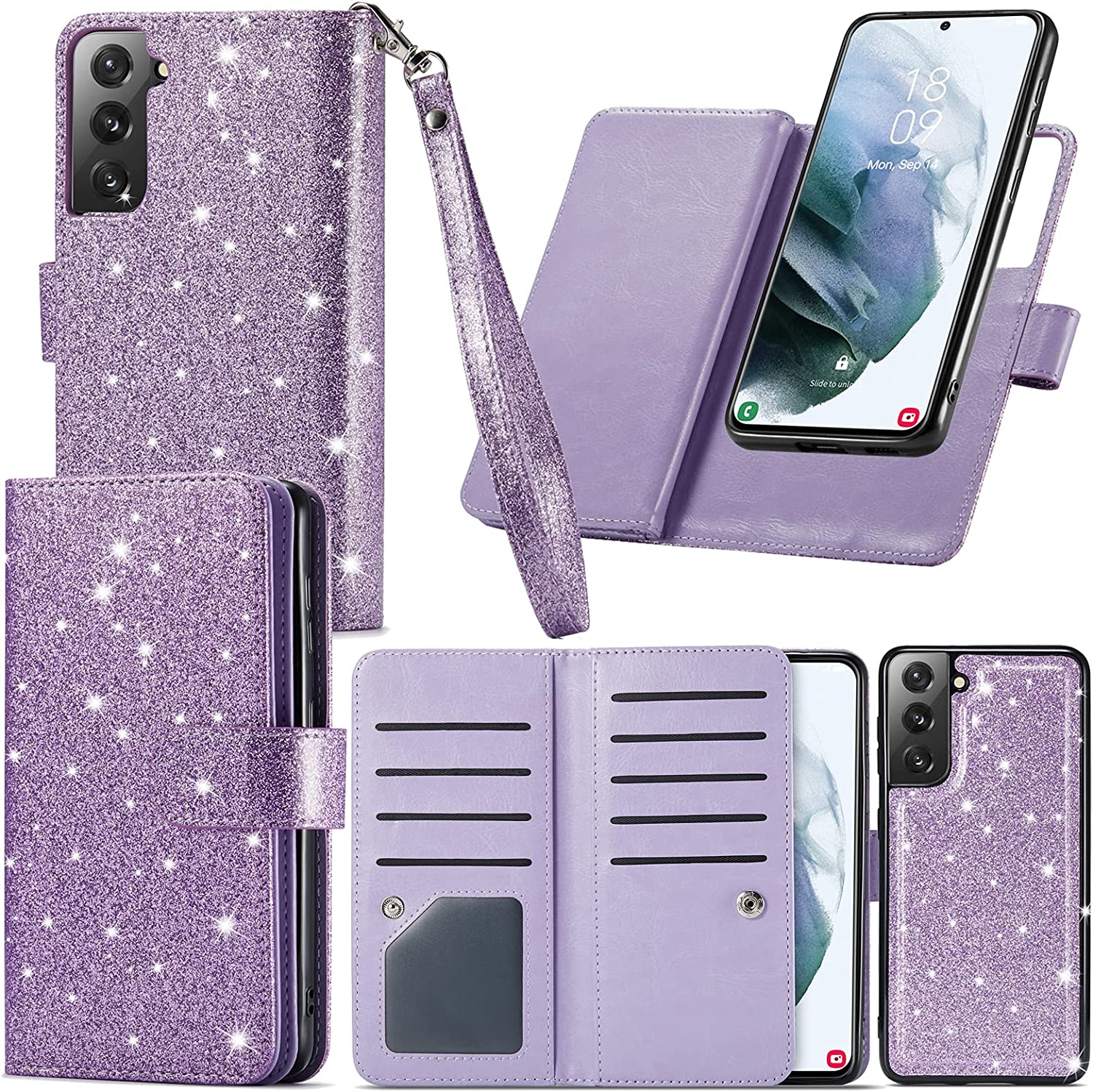 Varikke Samsung Galaxy S21 Case Wallet, Galaxy S21 Case with 9 Card Holder & Powerful Magnetic Detachable Cover & Kickstand Strap Lanyard Glitter PU Leather Wallet Case for Samsung S21 6.2
