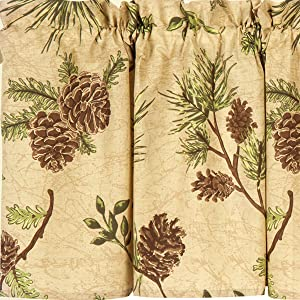 C&F Home Woodland Retreat Window Treatment Curtains Pinecone Decor Cabin Rustic Lodge Brown Green Cotton for Living Room Kitchen Valance Set of 2 Tan