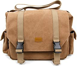 DURAGADGET Tan-Brown Canvas Carry Bag w/Customizable Compartment - Compatible with Roberts Radio Revival Mini DAB | DAB-Pl...