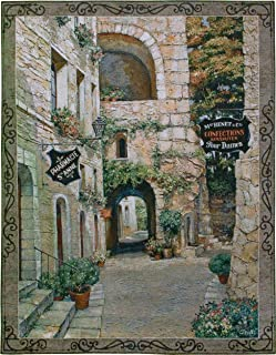 Italian Country Village II by Roger Duvall | Woven Tapestry Wall Art Hanging | Vintage Italian Cobblestone Alley with Candy and Drug Stores | 100% Cotton USA Size 74x55
