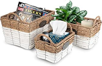 Sorbus Storage Basket Set of 3, Organizer Bins with Carry Handles, Rectangular, Two-Tone Natural/ White Rope Design Live -...