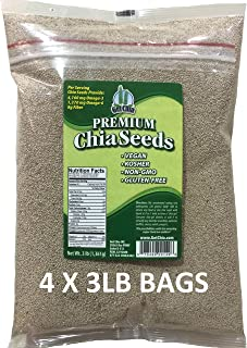 Get Chia Brand WHITE Certified Organic Chia Seeds - 12 TOTAL POUNDS = FOUR x 3 Pound Bags