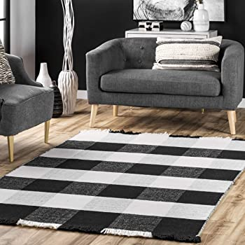 Amazon Com Nuloom Fay Wool Cotton Buffalo Plaid Fringe Area Rug 6 X 9 Black Furniture Decor