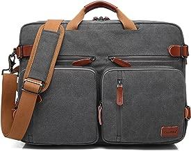 CoolBELL Convertible Backpack Messenger Bag Shoulder Bag Laptop Case Handbag Business Briefcase Multi-Functional Travel Rucksack Fits 17.3 Inch Laptop for Men/Women (Canvas Dark Grey)