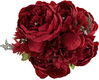 EZFLOWERY 1 Pack Artificial Peony Silk Flowers Arrangement Bouquet for Wedding Centerpiece Room Party Home Decoration, Elegant Vintage, Perfect for Spring, Summer and Occasions (1, Spring Red)