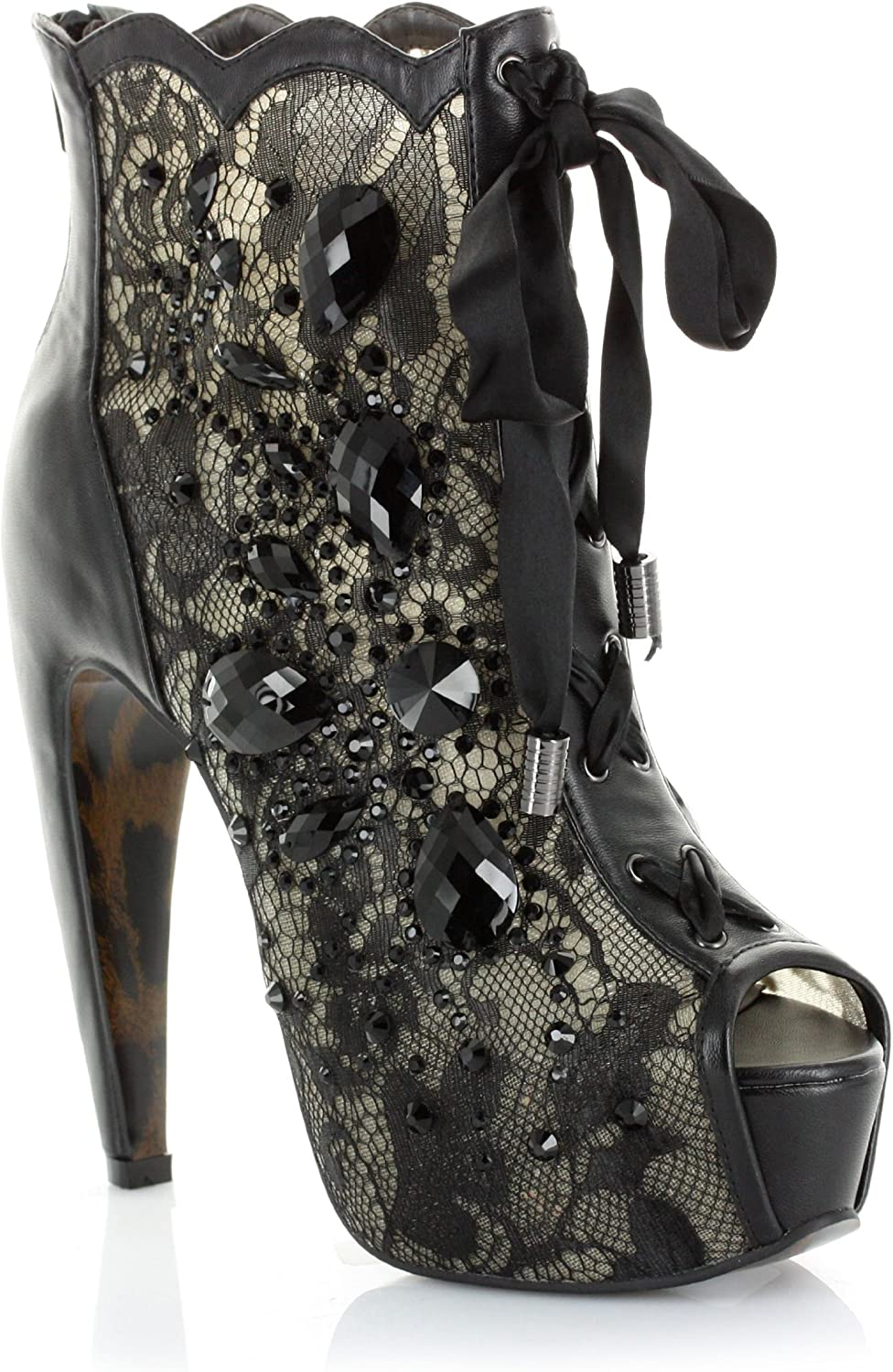 BETTIE PAGE BP575-LULA Women's 5  BEAD AND LACE BOOTIE W TIE