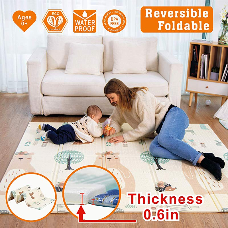 Baby Play Mat Playmat Baby Mat Folding Extra Large Thick Foam Crawling Playmats Reversible Waterproof Portable Playmat For Babies Bear