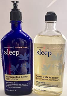 Bath & Body Works Aromatherapy Wash & Foam Bath Warm Milk & Honey Sleep 10 FL OZ & Aromatherapy Lotion Warm Milk & Honey Sleep 6.5 FL OZ