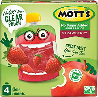 Mott's No Sugar Added Strawberry Applesauce, 3.2 Ounce (Pack of 6), Clear Pouch, 24 Count, Perfect for on-the-go, No Added...