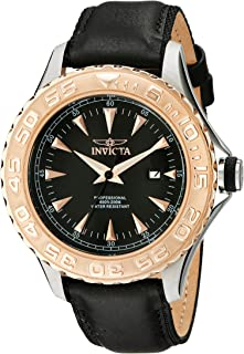Invicta Mens 12617 Pro Diver Stainless Steel Watch With Black Leather Band