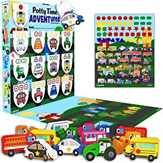 LIL ADVENTS Potty Time Adventures Potty Training Game - 14 Wood Block Toys, Chart, Activity Board, Stickers and Reward Badge for Toilet Training - Busy Vehicles