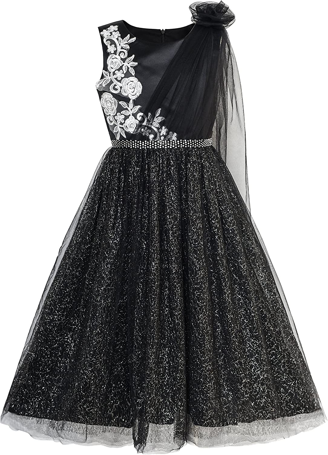 Sunny Fashion Girls Dress Black Sparkling Tulle Lace Party Prom Gown Size 6-12
