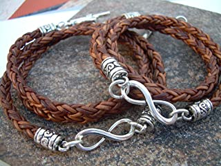 Handmade His and Her Set of Braided Leather Infinity Bracelets