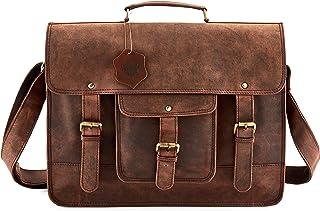 SC 18 Inch Large Retro Buffalo Hunter Leather Laptop Messenger Bag Office Briefcase College Bag
