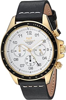 Vestal 'ZR2' Quartz Stainless Steel and Leather Casual Watch, Color:Black (Model: ZR243L28.BKWH)