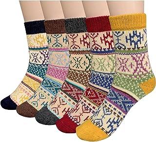 5 pares para mujer clima frío suave cálido de grosor Knit Crew Casual invierno Calcetines de lana