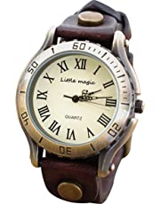 【リトルマジック】アンティーク 風 腕時計 メンズ レディース JAPAN レザー 革ベルト 日本製クオーツ 革 バンド 時計 防水 Little magic watch アンティーク ゴールド ベルト