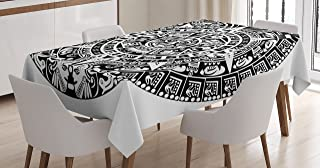 Lunarable Aztec Tablecloth, Mayan Calendar End of The World Prophecy Mystery Cool Culture Design Print, Dining Room Kitchen Rectangular Table Cover, 60