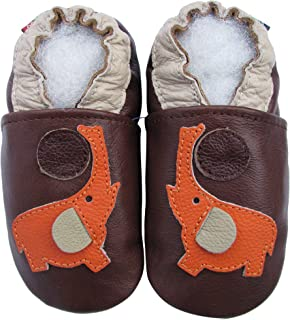 carozoo circles purple 5-6y soft sole leather kids shoes slippers
