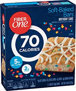 Fiber One Snacks 70 Calorie Birthday Cake Baked bar, 5.34 oz