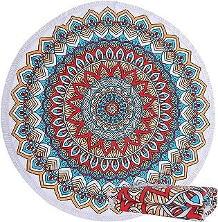 Sharemily home Thick Round Beach Towel Blanket Mandala Large Microfiber Terry Beach Roundie Circle Picnic Carpet Yoga Mat with Tassel for Women Men