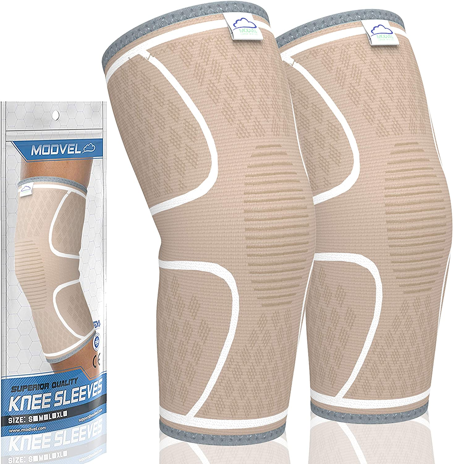 MODVEL 2 Pack Knee Brace | Knee Compression Sleeve for Men & Women | Knee Support for Running | Medical Grade Knee Pads for Meniscus Tear, ACL, Arthritis, Joint Pain Relief.: Health & Personal Care