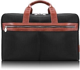 "McKlein Wellington, 1680D Ballistic Nylon with Leather Trim, 21"" Nylon, Two-Tone, Dual-Compartment, Laptop & Tablet Carry-All Duffel, Black (79115)"