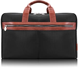 "McKlein Wellington, 1680D Ballistic Nylon with Leather Trim, 21"" Nylon, Two-Tone, Dual-Compartment, Laptop & Tablet Carry-All Duffel, Black (79115)"