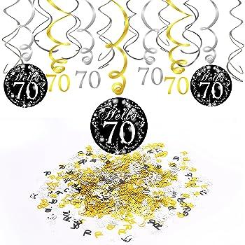 Swirl au 40 Anniversaire en or noir argent geburtstagsdeko Happy Birthday